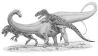 Group of Allosaurus Attack a giant Diplodocus Fine-Art Print