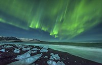 Aurora Borealis over the Ice Beach near Jokulsarlon, Iceland Fine-Art Print