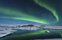 Northern Lights over the Glacier Lagoon in Iceland Fine-Art Print