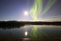 Aurora Borealis with Full Moon over the Yukon River in Canada Fine-Art Print