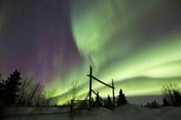 Aurora Borealis over a Ranch, Whitehorse, Yukon, Canada Fine-Art Print