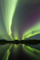 Aurora borealis over Fish lake, Whitehorse, Yukon, Canada (vertical) Fine-Art Print