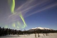 Aurora Borealis over Mountain near Mayo, Yukon, Canada Fine-Art Print