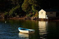 Boat on the lake at Lochmara Lodge, Marlborough Sounds, New Zealand Fine-Art Print