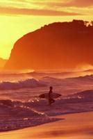 Surfer at Sunset, St Kilda Beach, Dunedin, New Zealand Fine-Art Print