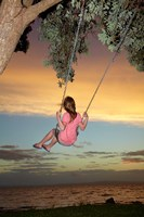 Girl, Rope Swing, Family Fun, Thames, New Zealand Fine-Art Print