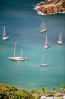 Yachts Anchor in British Harbor, Antigua, Caribbean Fine-Art Print