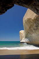 Sea cave, beach and cliffs, Tunnel Beach, Dunedin, South Island, New Zealand Fine-Art Print