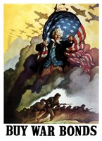 Uncle Sam Urging Troops into Battle Fine-Art Print