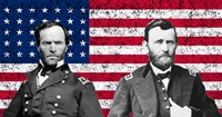 General Sherman and General Ulysses S Grant with American Flag Fine-Art Print