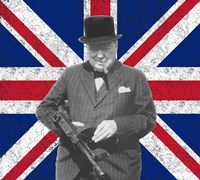 Sir WInston Churchill with Union Jack Fine-Art Print