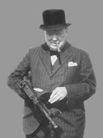 Sir Winston Churchill with a Tommy Gun Fine-Art Print