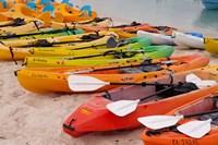 Bahamas, Eleuthera, Princess Cays, beach kayaks Fine-Art Print