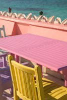 Colorful Cafe Chairs at Compass Point Resort, Gambier, Bahamas, Caribbean Fine-Art Print