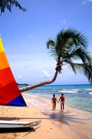Couple on Beach with Sailboat and Palm Tree, Barbados Fine-Art Print