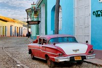 Colorful buildings and 1958 Chevrolet Biscayne, Trinidad, Cuba Fine-Art Print