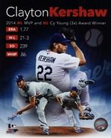 Clayton Kershaw 2014 National League MVP & Cy Young Award Winner Portrait Plus Fine-Art Print