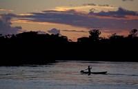 Boaters on Amazon River at Sunset, Amazon River Basin, Peru Fine-Art Print