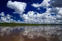 South America, Peru, Amazon Cloud reflections on Amazon river Fine-Art Print