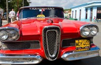 Classic 1950s Edsel parked on downtown street, Cardenas, Cuba Fine-Art Print