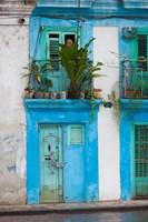 Cuba, Havana, Havana Vieja, Blue building Fine-Art Print