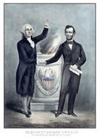 President Washington and President Lincoln Shaking Hands Fine-Art Print
