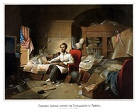 President Lincoln Writing the Emancipation Proclamation Fine-Art Print