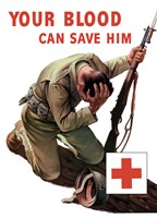 Vintage Red Cross - Your Blood Can Save Him Fine-Art Print