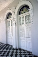 Historic District Doors with Stucco Decor and Tiled Floor, Puerto Rico Fine-Art Print