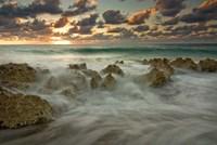 Cayman Islands, Waves near George Town, sunset, beach Fine-Art Print