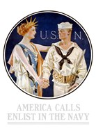 Vintage World War II - Liberty Shaking Hands with a Sailor Fine-Art Print