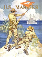 WWI - Two Marines on the Beach Fine-Art Print