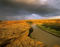 Approaching storm on the Milk River at Writing on Stone Provincial Park, Alberta, Canada Fine-Art Print