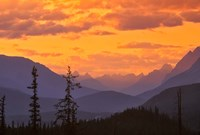 Alberta, Baniff NP, Sunset on Mountain ridges Fine-Art Print