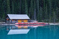 Canoe rental house on Lake Louise, Banff National Park, Alberta, Canada Fine-Art Print