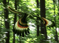 Archaeopteryx flying through a forest Fine-Art Print