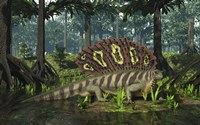 An Edaphosaurus forages in a brackish mangrove like swamp Fine-Art Print