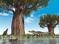 Kaprosuchus crocodyliforms near a baobab tree in a prehistoric landscape Fine-Art Print