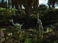 Caudipteryx wander a prehistoric landscape Fine-Art Print