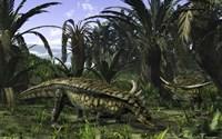 Desmatosuchus search for edible roots in a prehistoric landscape Fine-Art Print