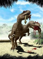 Two Allosaurus with a Hypsilophodon in mouth as next meal Fine-Art Print
