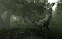 An Antarctosaurus stalked by Abelisaurus in a prehistoric landscape Fine-Art Print