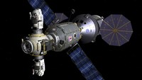 Artist's concept of a Deep Space Vehicle with Extended Stay Module and Manned Maneuvering Vehicles Fine-Art Print