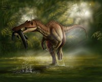 A Baryonyx dinosaur catches a fish out of water Fine-Art Print