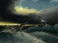Pliosaurus irgisensis attacking a shark Fine-Art Print
