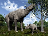 A Paraceratherium mother grazes on leaves and twigs of a poplar tree Fine-Art Print