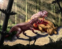 Biarmosuchus predators eating the flesh of a Estemmenosuchus Fine-Art Print