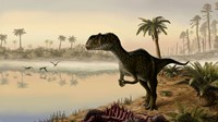 Yangchuanosaurus eats the carrion of a dead animal Fine-Art Print