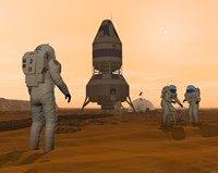 Illustration of Astronauts Setting up a Base on the Martian Surface around their Lander Vehicle Fine-Art Print