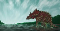 A Xenoceratops in the Shallow Waters of a Prehistoric River Fine-Art Print